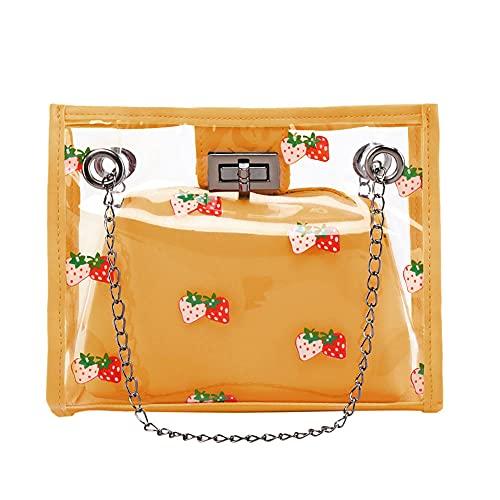 Bolso de Mano de PVC Transparente a la Moda para Mujer, con Estampado de Fresa, pequeños totalizadores, Bandolera de gelatina, Bandolera-3