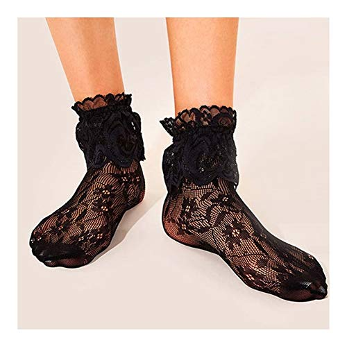 QHKS - Calcetines de encaje con volantes para mujer, diseño de Lolita Negro 3 pares