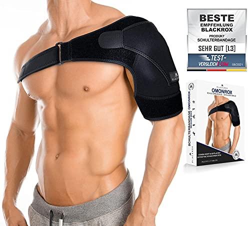 BLACKROX Schulterbandage OMONROX Sport Damen Herren beidseitig Arm Kompression Linke/Rechte Unterstützung armschlinge Bandage Schulter Schulterstütze Schultergurt (Einheitsgröße, Schwarz)