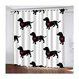 Daesar Cortina Dormitorio Opaca Negro Blanco Rojo Cortina Poliester Habitacion Perros con Corazón 264x244CM