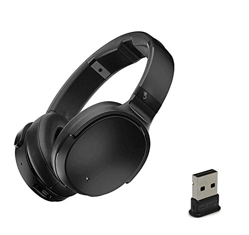 Skullcandy Venue Active Noise Canceling Over-Ear Wireless Bluetooth Headphone Bundle with Plugable USB 2.0 Bluetooth Adapter - Black