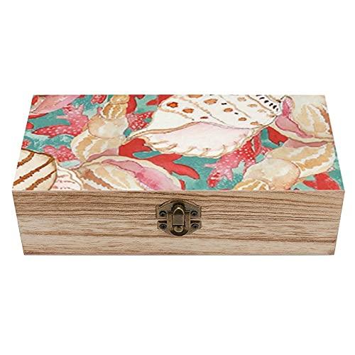Elegante caja de madera con diseño de conchas de mar, color azul turquesa coral y rojo, caja de regalo, caja de té de almacenamiento de 19 x 9 x 6.8 cm