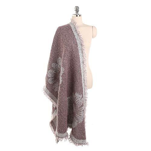 Alvnd vrouwen elegante bloemenpatroon kwast sjaal warm sjaal winter sjaal sjaal strepen 230 * 62cm Colour 3