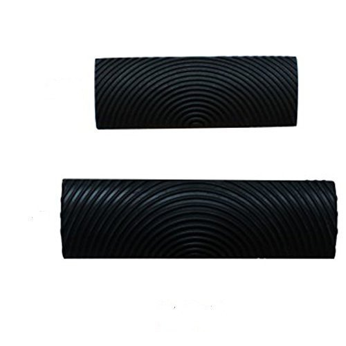 STian 2Pcs M-shape(MS6) Wood Grain Design Decorating Tool Graining Rubber Painting,Black (MS6)