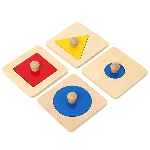 Thoth Montessori Single Shape Puzzle First Shapes Jumbo Wooden Puzzle Board Knob Wooden Puzzle Geometric Shape Puzzle Early Education Material Sensorial Toy for Toddler Shape & Color Sorter (4 pieces)