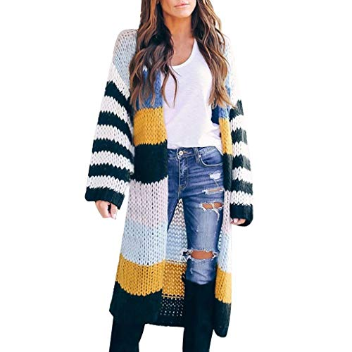 Lomelomme Damen Strickjacke Lang mit Tasche Gestreifte Grobstrick Strickmantel Bunte Lose Cardigan Damen Casual Langarm Sweater Jacke Outwear Herbst Winter
