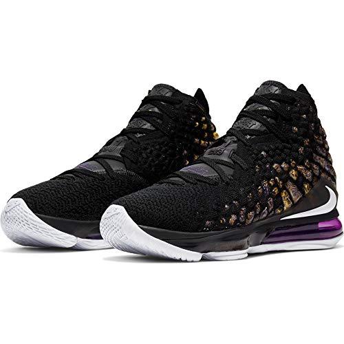 Nike Men's Lebron 17 Basketball Shoes (11, Black/White/Eggplant/Amarillo)
