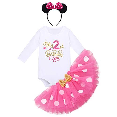 Bébés Filles 2e Anniversaire Tutu Set Costume de Minnie Mouse Manche Longue Body Barboteuse Jupe Tutu à Pois Oreille Bandeau 2 Ans Fête Vêtements Deuxième Anniversaire Tenue Photographie Rose Vif