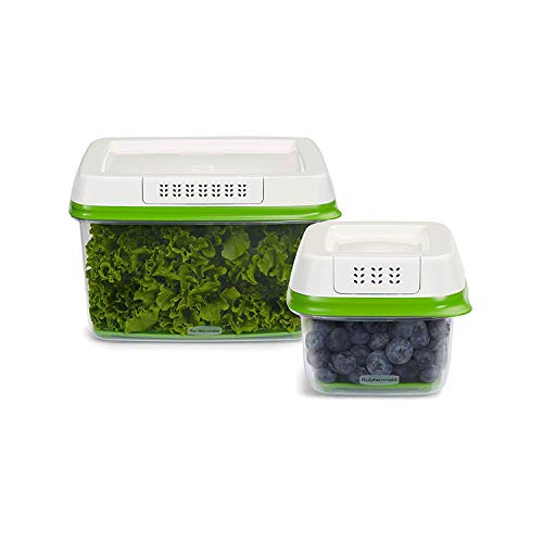 Rubbermaid FreshWorks Produce Saver Food Storage Containers Set, 4-Piece Set includes 2 Containers 2 Lids