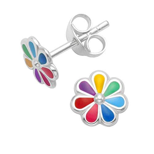 Sterling Silver Daisy Earrings - Multi coloured flower Enamel Stud Earrings - SIZE: 7mm. Gift Boxed Rainbow Flower earrings B41HN/5579