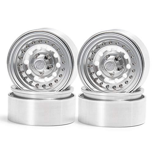 Que-T Beadlock-Felgen für 1/10 RC Crawler SCX10 90046 D90 Trx4 (helles Silber), 4 Stück