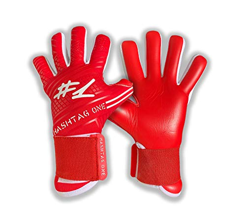 #1 Hashtagone Endboss Red Torwarthandschuhe für Erwachsene & Kinder - Größe 8 - entwickelt vom Torwart Bundesliga Profi - Tormannhandschuhe Herren, Kinder (Größe 8 Endboss Red)