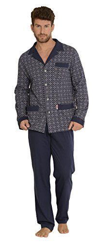 FOREX Lingerie edler Herren-Pyjama aus 100{2d7d5d834a8b5935b6ab542666933a5f657fc98d8b3a5cb8e1319bd514d1b840} Baumwolle Schlafanzug Hausanzug im tollen Design, marine gemustert, Gr. M