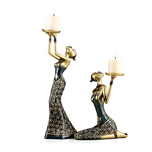 ZHCSS 1 Pair of Vintage Lady Statue Candle Holders, Sculpture Abstract Candle Holder Candle Holder Home Decoration Accessories Home Decoration,Blue