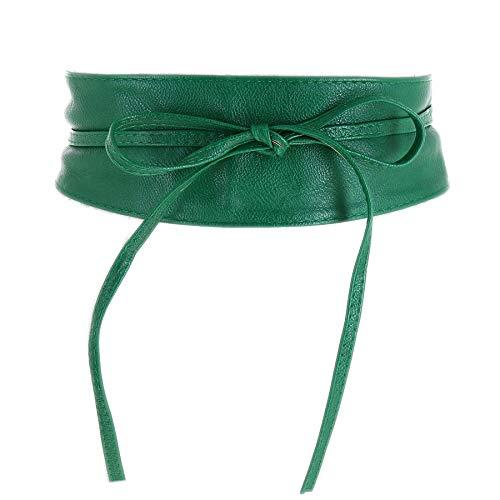 FASHIONGEN - Woman leatherette waisband Obi Belt, MICA - Green, S-M