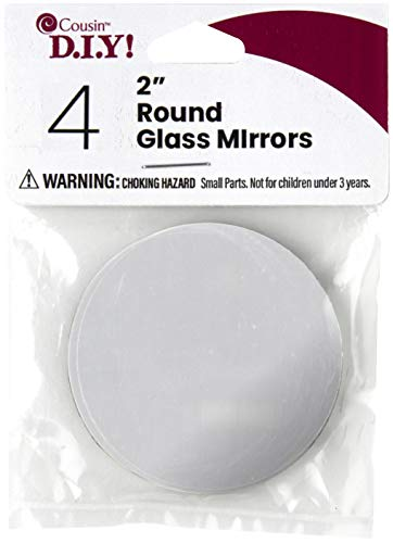 Cousin DIY 4 Piece Round Glass Mirror Set, 2 inch Diameter, Silver