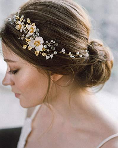 Simsly Bride Blume Hochzeit Haar Weinrebe Silber oder Gold Hochzeit Haarschmuck Kristall Brautschmuck Kopfschmuck Blatt für Frauen und Mädchen