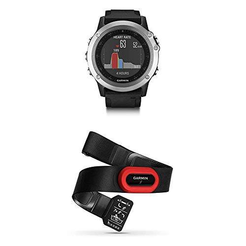 Garmin Fēnix 3 Silver HR Cardio Poignet - Montre GPS Multisports Outdoor - Bracelet Silicone Noir + Garmin Ceinture Cardio-Fréquencemètre HRM-Run - Noir/Rouge