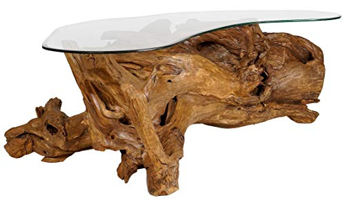 Windalf Multistore 2002 Table basse vintage en bois de racine avec plateau en verre Rose 150 cm