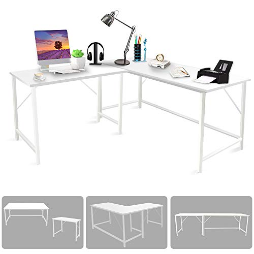 Bizzoelife L Shaped Large Corner Desk, 94.5' White Large 2 Person Reversible Corner Table, Adjustable Long Desk or Two Gaming Computer Desks, Student Tables Writing Workstation for Home Office PC