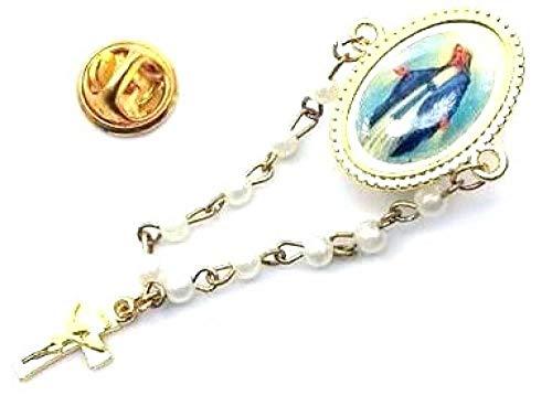 Broche Pin Cadena Perla Dore colgante cruz Virgen de Lourdes Miracle