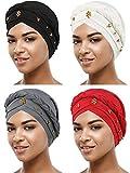 Best Turbans - SATINIOR 4 Pieces Women Turban Cap Beaded Headscarf Review