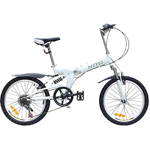 LIEIKIC 20 Zoll Faltrad Klapprad Nabenschaltung Leicht Tragbares Klappfahrrad Folding Bike für Damen Herren Student (Weiß)