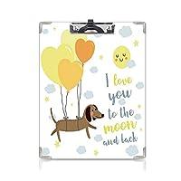 クリップボード 私はあなたを愛して プレゼントA4 バインダー 風船と心のかわいい犬太陽雲子犬赤ちゃん親友 用箋挟 クロス貼 A4 短辺とじ黄色のココアブルーグレー