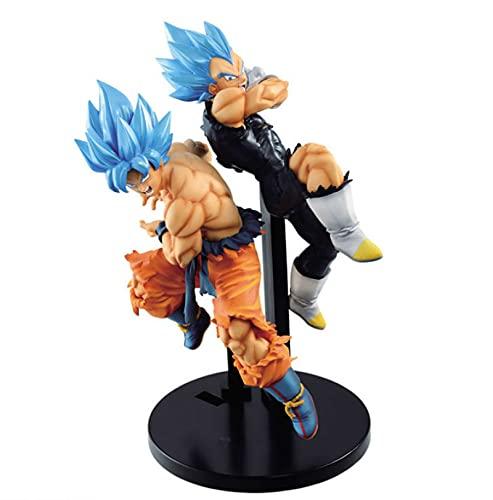 2Pcs / Cartoon Anime Game Dragon Ball Super Movie Broly Tag Fighters Goku Vegeta Figura De Acción Dragon Ball Z SSJ Blue Hair Figura Juguetes 17Cm, Regalos para Niños