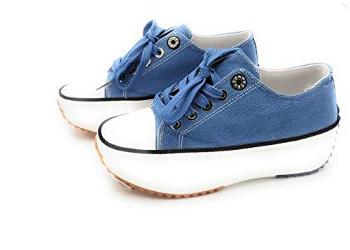 Zapatillas con Plataforma, Zapatillas de Lona Mujer, Zapatillas de Moda (Azul, 37 EU, 37)