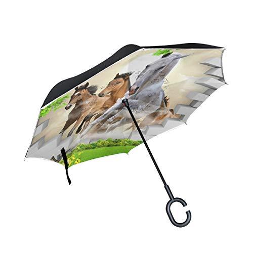 Paraguas invertido de Doble Capa, a Prueba de Viento, para Exteriores, para Lluvia, Sol, para Coche, con Mango en Forma de C, para reversa, para Correr