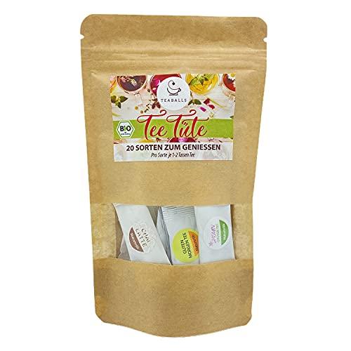 TEABALLS - Teetüte (1 x 20g) | Probiertüte Naturtrüb | 20 Sorten zum Genießen | 20 Tassen Tee mind. | 100% rein pflanzlich