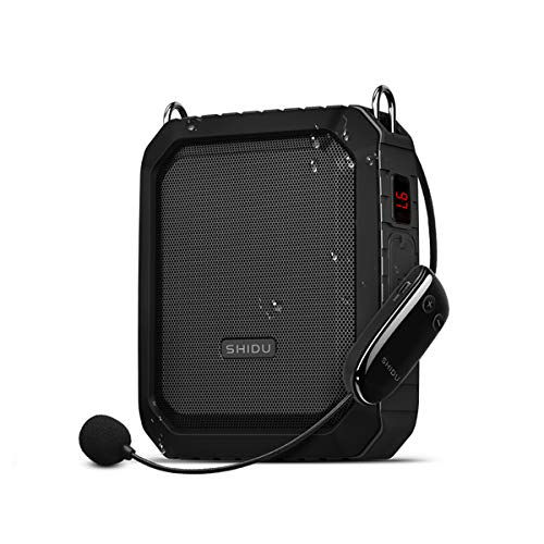 Wireless Voice Amplifier with UHF Microphone Headset, 18W 4400mAh Rechargeable Bluetooth Loudspeaker Speaker Amp Powerful Mini Pa System Portable Waterproof Power Bank for Teachers,Classroom, Yoga ect