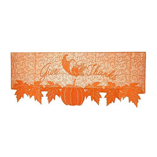 SODIAL Bufanda de Chimenea de Hojas de Arce de Halloween de AccióN de Gracias para DecoracióN de Puertas de AccióN de Gracias Cubierta de Mesa de Oto?O, 20 X 60 Pulgadas
