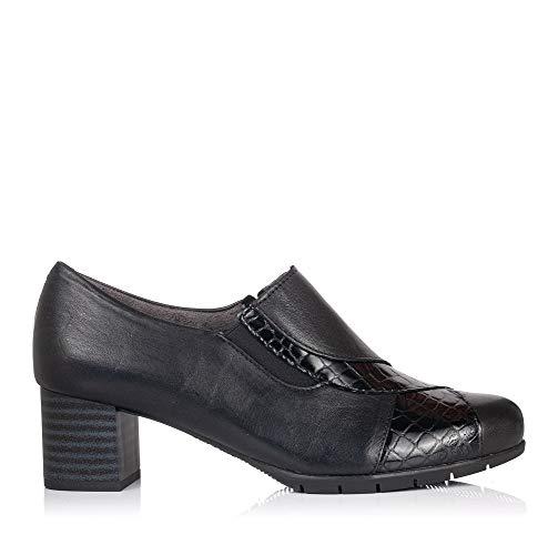 PITILLOS 5745 Zapato Abotinado Piel Tacon Mujer Negro 36