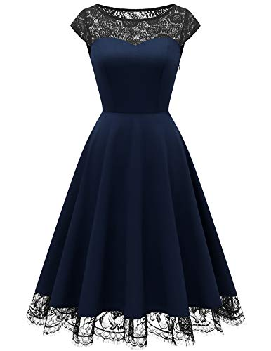HomRain 1950er Elegant Spitzenkleid Rundhals festlich Brautjungfern Damen Cocktailkleider Abendkleid für Hochzeit Partykleid Navy L