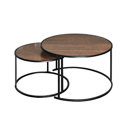 Huisen Furniture Accent Round Coffee Table for Living Room Set of 2 Nest of Table Sofa Side End Table Espresso Wood Table Metal Frame for Corner Small Space Office Waiting Room Table