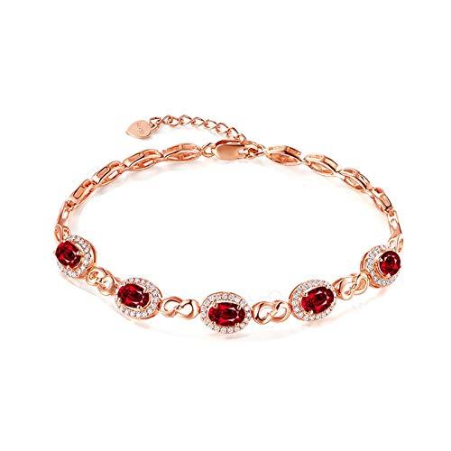Daesar Pulseras de Oro Rosa Mujer Diamante Rubí 2.1 ct 17 CM Pulseras Mujer Oro Rosa 18K