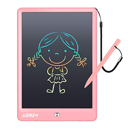 LCD Writing Tablet Colorful 10 Inch Electronic Graphics Doodle Board eWriter Drawing Pad with Memory Lock Gift for Kids & Adults Home School Office Handwriting Tablet (Pink)
