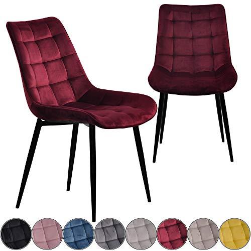 iomangio® Esszimmerstühle 2er Set | Bordeaux Rot Esszimmerstuhl Küchenstuhl | Polsterstuhl Design Stuhl mit Rückenlehne, mit Sitzfläche aus Samt/Stoffbezug | Gestell aus Metall | Samt Stühle
