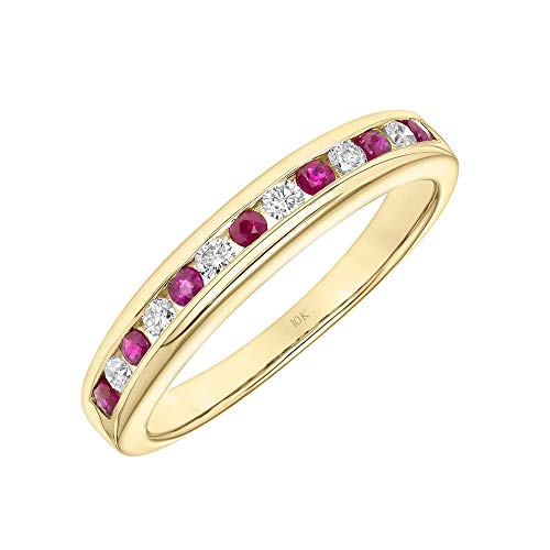 Brilliant Expressions 10K Yellow Gold Conflict Free Diamond and Ruby Channel Set Anniversary or Wedding Band, Diamond 1/6 Cttw (I-J Color, I2-I3 Clarity); Ruby 1/3 Cttw, Size 6.5