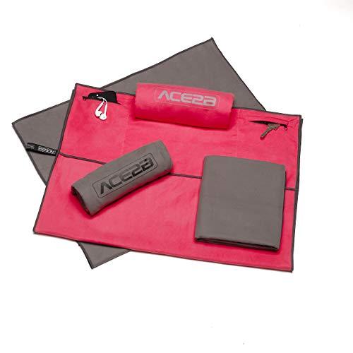 ace2b Fitness Sport Handtuch Mikrofaser – schnelltrocknend, platzsparend, leicht / 2 Taschen mit Überzug für Gerätetraining, Fitnessstudio, Gym / 120x55cm XL groß (grau)