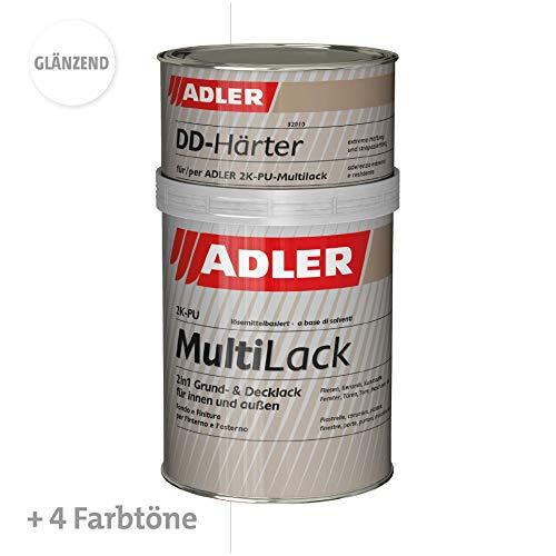 ADLER Fliesenlack glänzend Weiß - 1kg inkl. Härter - Hochwertige Fliesenfarbe mit hervorragenden Hafteigenschaften für diverse Untergründe, Grund- und Decklack