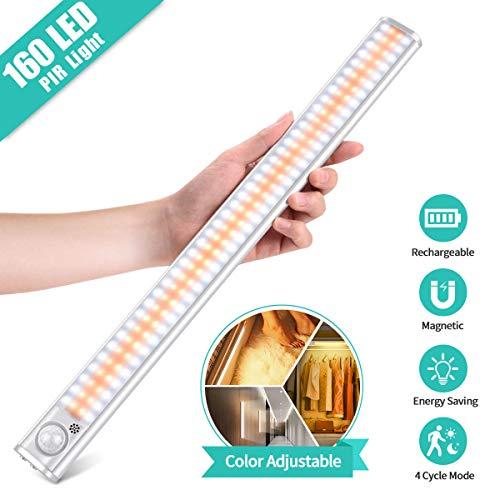 small Cabinet light 3-color mode 160-LED cabinet light USB battery with motion sensor …