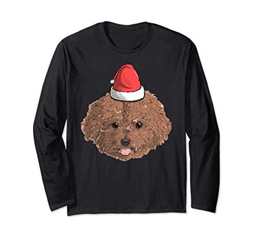 Poodle Dog Santa Claus Hat Christmas X-Mas Holiday Gift Long Sleeve T-Shirt