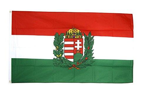 Flaggenfritze Fahne/Flagge Ungarn mit Wappen ungarische Fahne 90 x 150 cm+ gratis Sticker