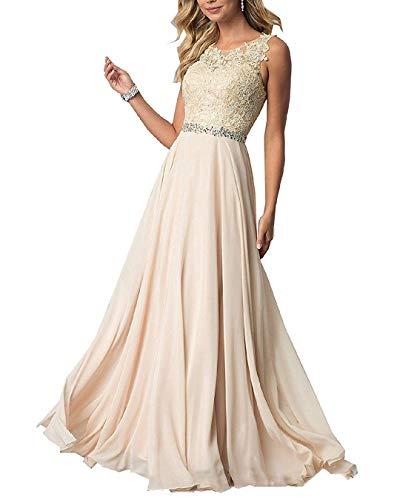 EVANKOU Damen Chiffon Spitze Abendkleider Elegant Brautkleid Lang Festkleid Ballkleid P29 Champagne Größe 38