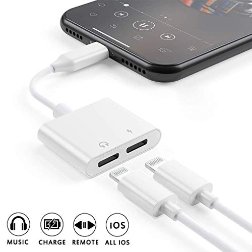 Price comparison product image [Apple MFi Certified] 2 in 1 Dual Lightning iPhone Adapter & Splitter,  Adapter Dual Converter Cable Headphone Music+Charge+Call+Volume Control Compatible for iPhone 11 / 11 Pro / XS / XR / X 8 / 7,  iPad-iOS 13