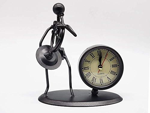 JSMY Reloj de Escritorio de Estilo músico de Cuerno francés Reloj de Escritorio Movimiento de Cuarzo Reloj de Escritorio con Pilas La Superficie de Vidrio de Alta definición es fá