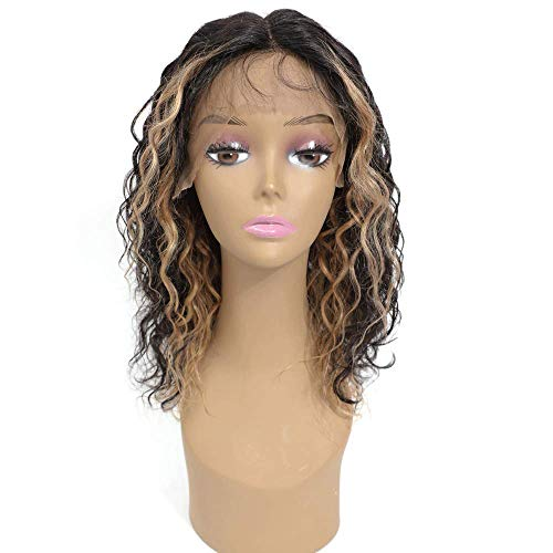 Ms Taj Curly Human Hair Wigs for Black Women T Part Ombre Lace Front Wigs Human Hair Ear to Ear Middle Part Highlighted Wigs with Baby Hair Pre Plucked 150 Density 14 Inch